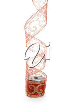 Curling red gauze ribbon decorated with gold glitterr swirls.   For wrapping and decorating  presents and gifts.