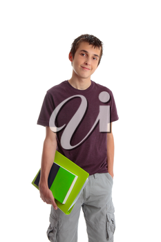 A male student carrying books and folder.  White background.