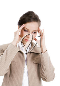 Portrait of businesswoman having headache and touching her head on white background