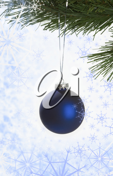 Close-up of blue toy ball on fir tree branch on Christmas background