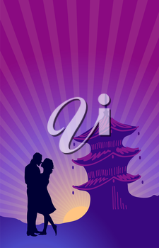 Vector illustration of silhouette of couple kissing on the background of Asian architecture