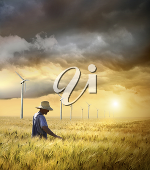 Royalty Free Clipart Image of a Farmer in a Wheat Field