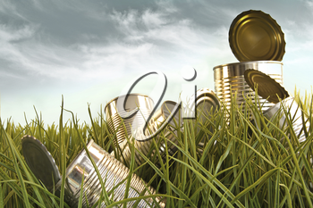 Royalty Free Photo of Discarded Tin Cans in Long Grass