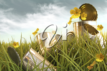 Royalty Free Photo of Discarded Tin Cans in Long Grass and Flowers