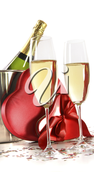 Royalty Free Photo of Champagne and Valentine Candies