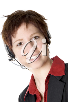 girl with headset smiling at the camera