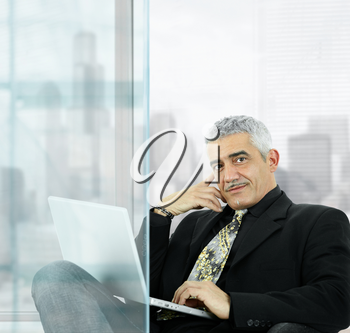 Portrait of mature businessman sitting  in front of windows in office, using laptop computer, smiling.