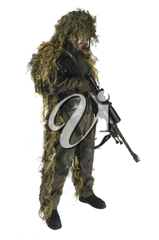 Sniper is wearing a ghillie suit.