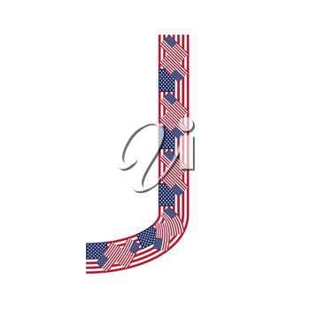 Letter J made of USA flags on white background from USA flag collection, Vector Illustration