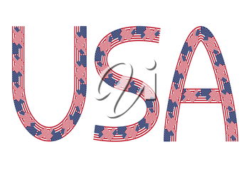 USA inscription made from USA flags on white background