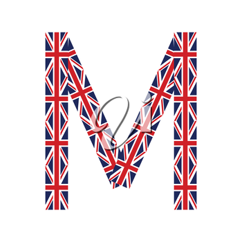 Letter M made from United Kingdom flags on white background
