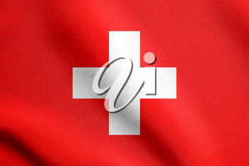 Flag of Switzerland waving in the wind with detailed fabric texture. Swiss national flag.