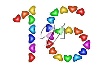 Number 16 made of colorful hearts on white. Love figures. Multicolored icon. Greeting card. Happy birthday invitation. Holiday anniversary sign. Number sixteen from rainbow hearts. illustration