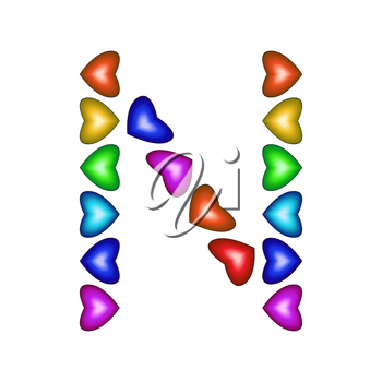 Letter N made of multicolored hearts on white background