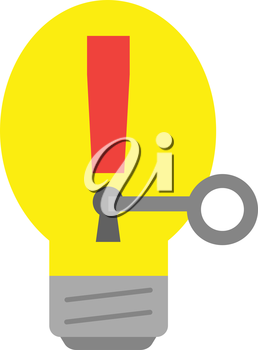 Yellow vector light bulb with red exclamation mark and grey key.