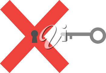 Red x mark keyhole vector and grey key.