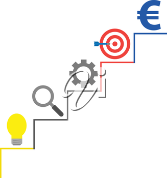 Vector stairs with light bulb, magnifier, gear, bullseye with dart and euro on top.