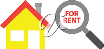 Vector yellow house with red for rent text inside grey and black magnifying glass.