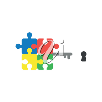 Flat design style vector illustration concept of blue, red, yellow and green jigsaw puzzle pieces key symbol icon and black keyhole on white background.