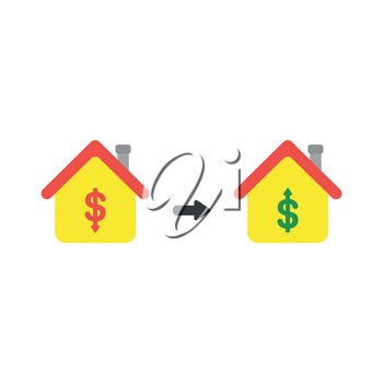 Vector illustration icon concept of house with dollar money symbols and arrows moving down and up.
