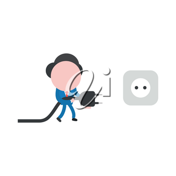 Vector cartoon illustration concept of faceless businessman mascot character walking and carrying electrical plug with cable to outlet symbol icon.