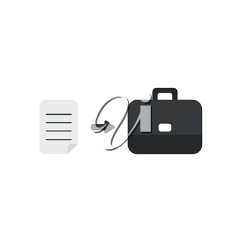 Flat design vector illustration concept of written paper into black briefcase symbol icon on white background.