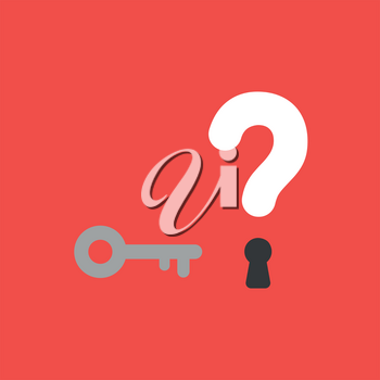 Flat vector icon concept of key and question mark with keyhole on red background.
