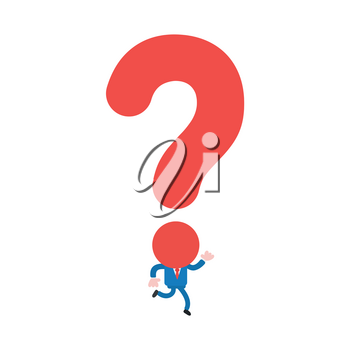 Vector illustration businessman mascot character running with question mark head.