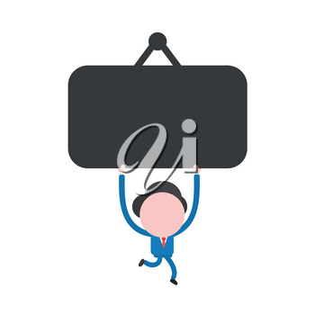 Vector illustration businessman mascot character running and holding up blank hanging sign.