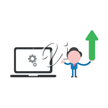 Vector illustration businessman character holding arrow moving up to laptop computer with gears.