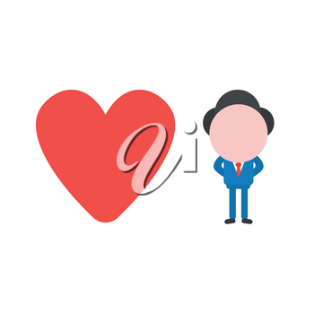 Vector illustration businessman character with red heart icon.