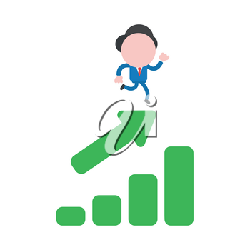 Vector illustration businessman character running on sales chart moving up.