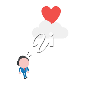 Vector illustration businessman character looking heart to reach on cloud.