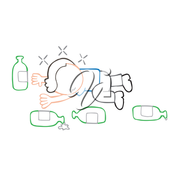 Vector hand-drawn cartoon illustration of drunk man lying on floor with empty beer bottles.