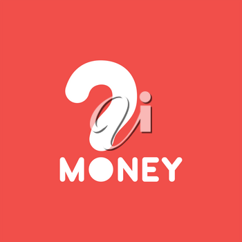 Flat vector icon concept of money word with question mark on red background.