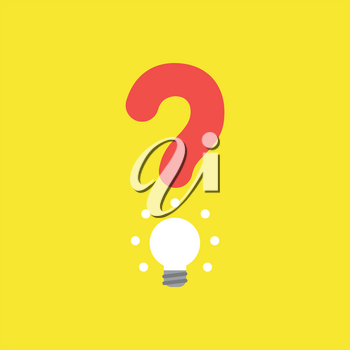 Flat vector icon concept of question mark with glowing light bulb on yellow background.