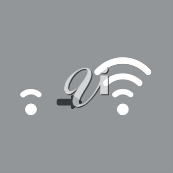 Flat vector icon concept of low and high wireless wifi symbols on grey backgrounds.