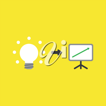 Flat vector icon concept of glowing light bulb with sales chart arrow moving up on yellow background.