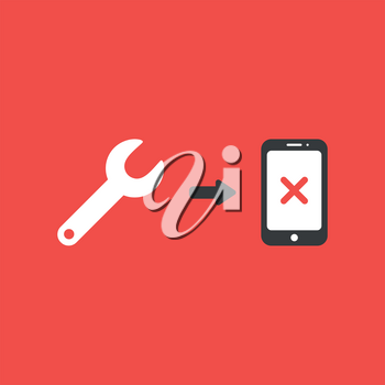 Flat vector icon concept of spanner and smartphone with x mark on red background.