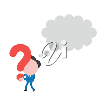 Vector illustration businessman character with blank thought bubble, walking and holding question mark.