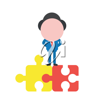 Vector illustration businessman character standing on two connected jigsaw puzzle pieces.