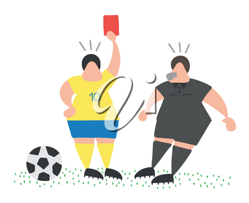 Vector illustration cartoon soccer player man showing red card to referee.
