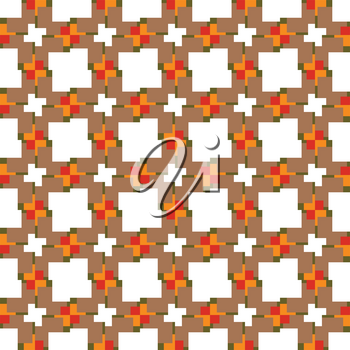 Vector seamless pattern texture background with geometric shapes, colored in brown, green, orange, red and white colors.