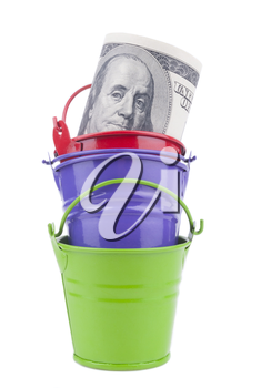 Royalty Free Clipart Image of a Money and Buckets