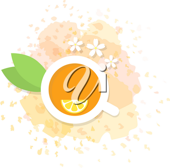 Green tea with lemon in a cup. Vector illustration .