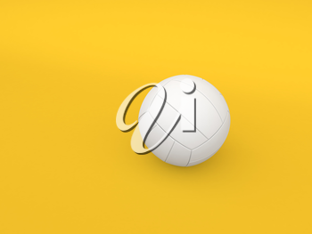 Volleyball ball on a yellow background. 3d render illustration.