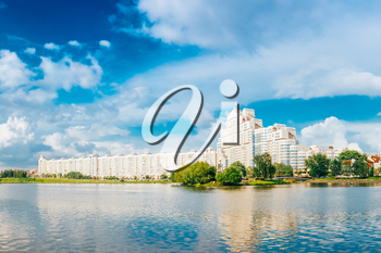 Building In Old Part Minsk, Downtown Nyamiha, Nemiga View With Svisloch River, Belarus