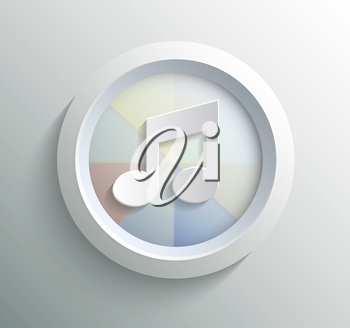 App icon metal music with shadow on technology circle and grey background