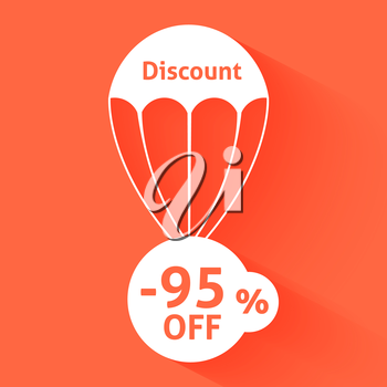 Discount parachute with text of the size of the discount