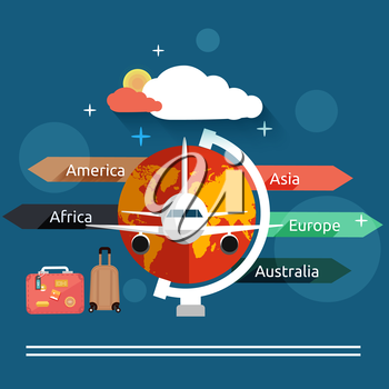 Aviator concept in flat design. Airplanes flying over the map in different countrys. Icons set of traveling, planning a summer vacation, tourism and journey objects and passenger luggage